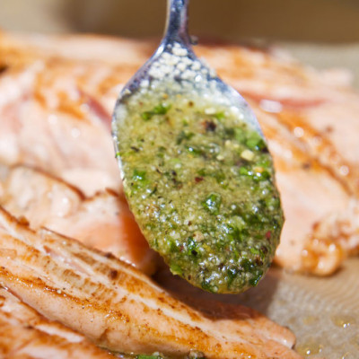 Salmon fillet with fresh herbs